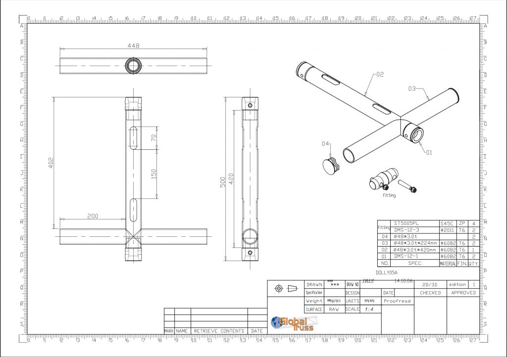 F31PL Modular T Piece Drop Arm - Data