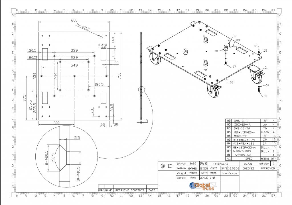 Wheel Base Plate Data